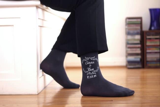 Monogram Groomsmen Socks for wedding day