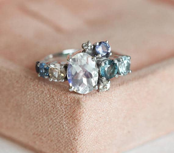 Moonstone cluster engagement ring