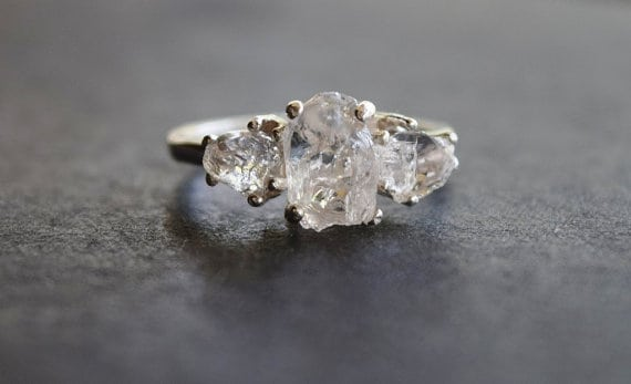 Organic Unaltered Raw Diamond Engagement Ring Boho Wedding Band