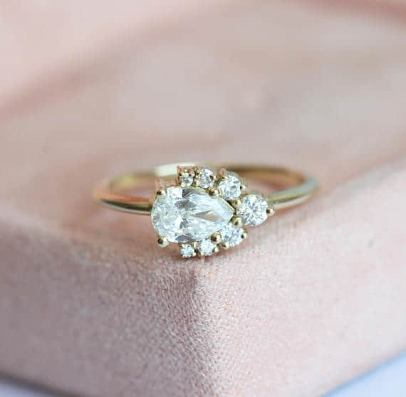 Pear Diamond cluster engagement ring