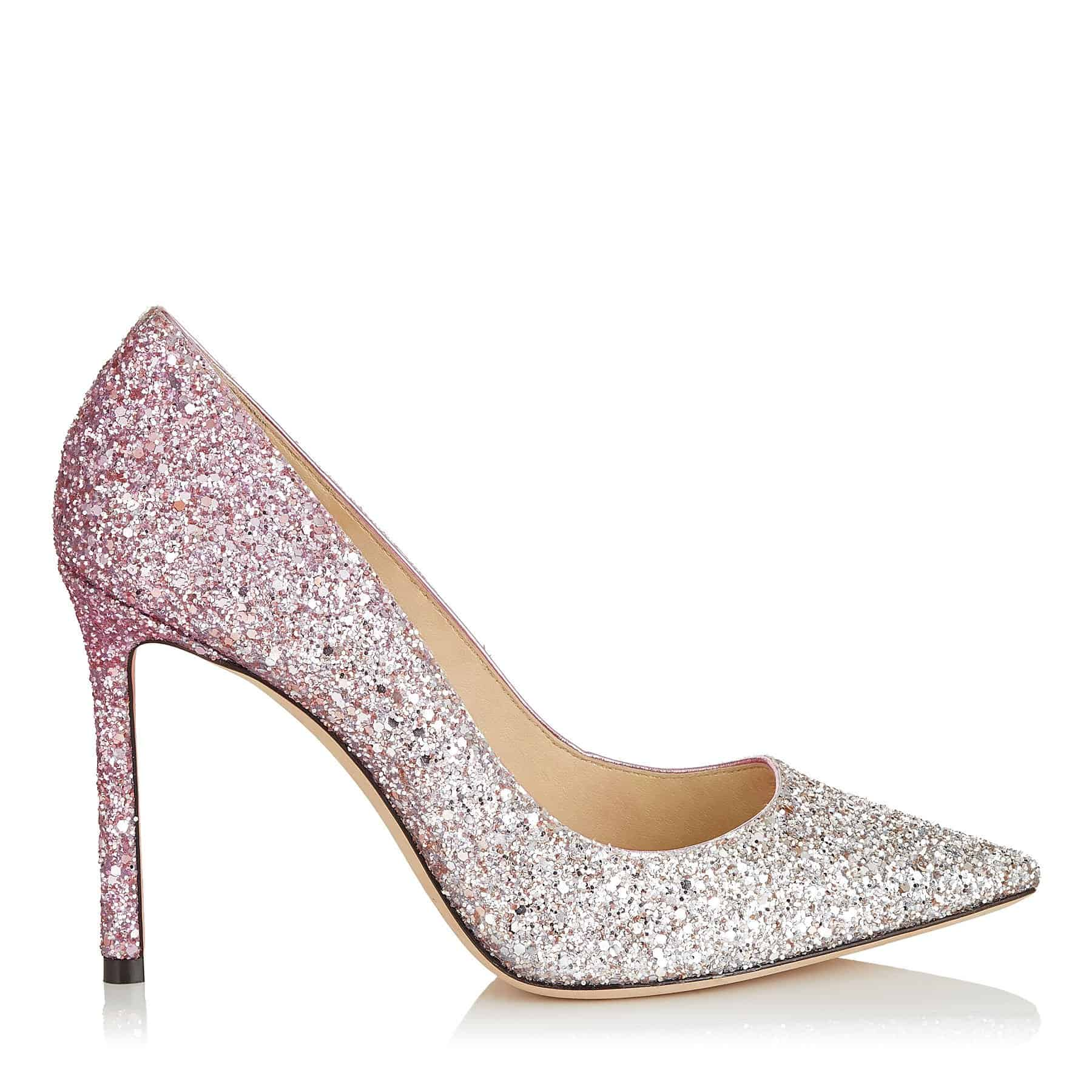 Platinum And Flamingo Ice Glitter Dégradé Fabric Pointy Toe Pumps Jimmy  Choo Wedding Shoes