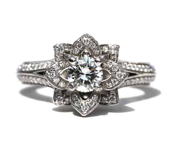 UNIQUE Flower Rose Diamond Engagement Ring