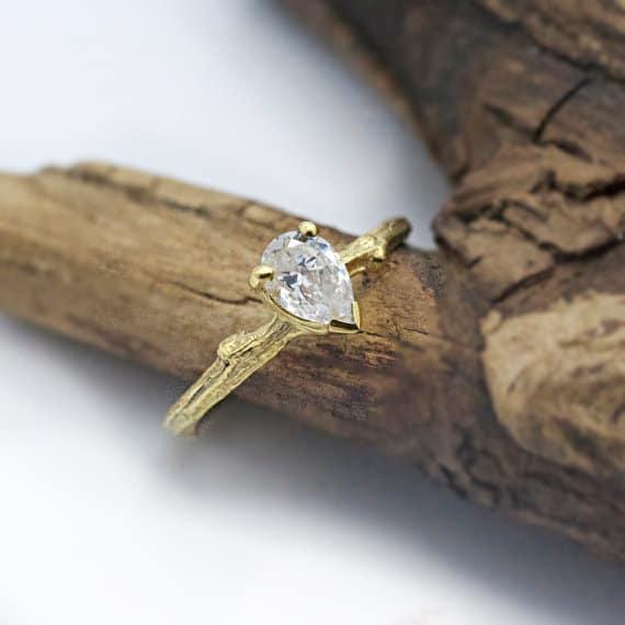 Unique Pear Moissanite Twig Engagement Ring