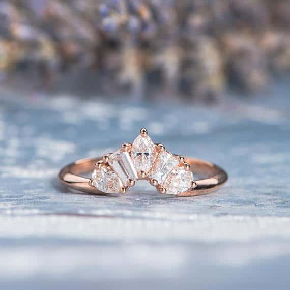 Unique Rose Gold Marquise Tapered Wedding Band