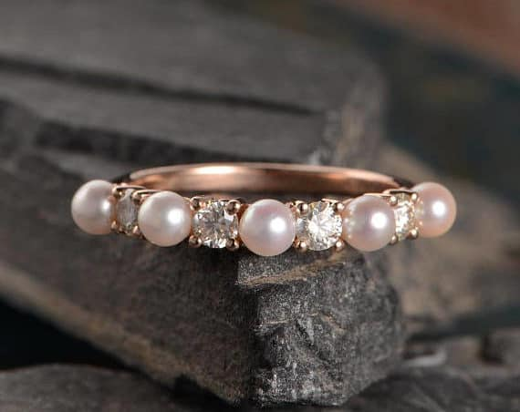 Wedding Band Women Rose Gold Pearl Ring Moissanite Half Eternity wedding band