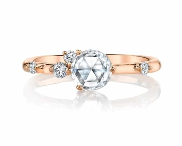 Womens rose-cut diamond sprinkled with brilliant white diamonds