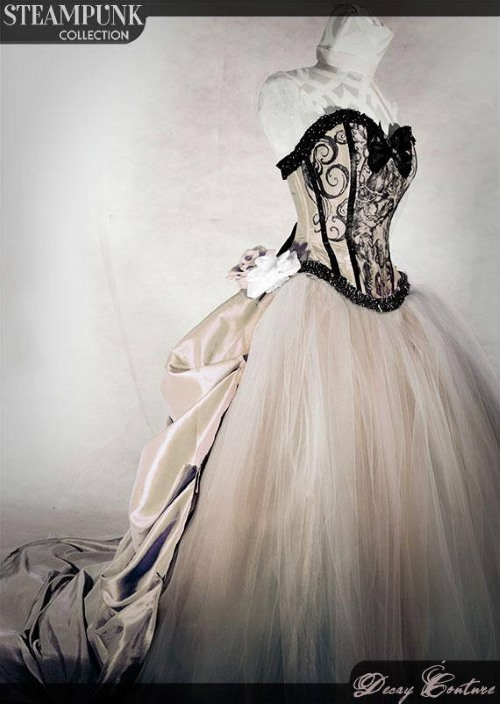 The Antique White Steampunk Wedding Dress