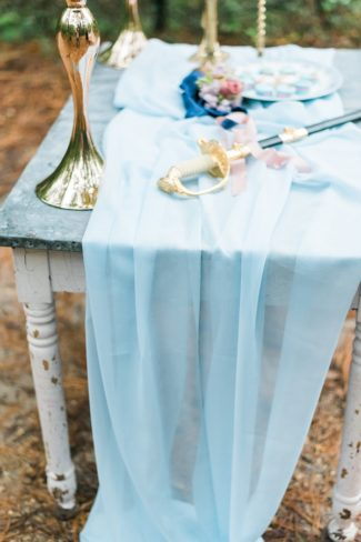 baby blue sheer on table