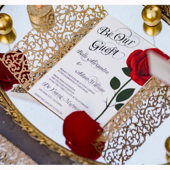 beauty and the beast rose gatefold invite