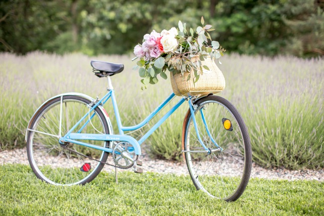 bicycle with basket on front