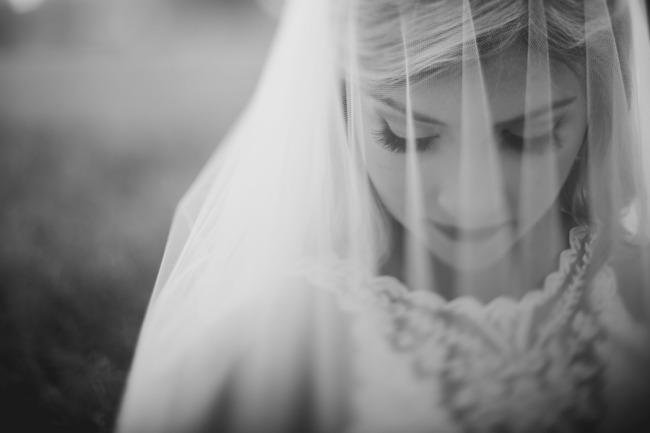 black and white bride under veil