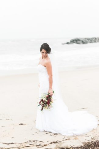 bride on beach in Virginia