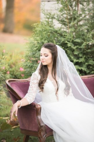 bride on red lounge outdoors