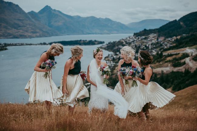 bridesmaids at NZ high country wedding