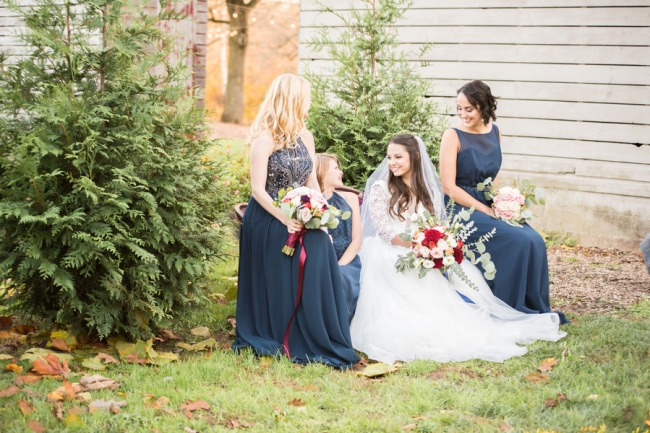 bridesmaids on vintage outdoor couch