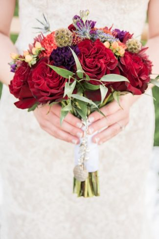 colorful red floral bouquet
