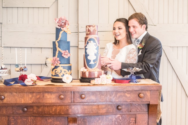 couple at cake table