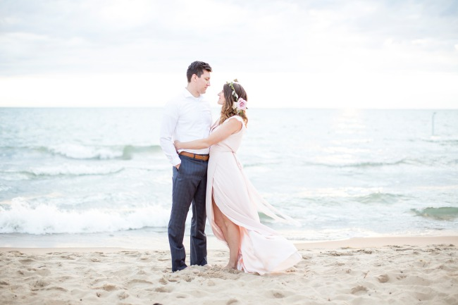 couple on beach for anniversary