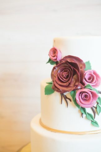 floral marzipan on cake