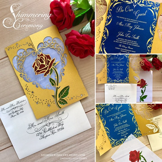 gold and royal blue wedding invite