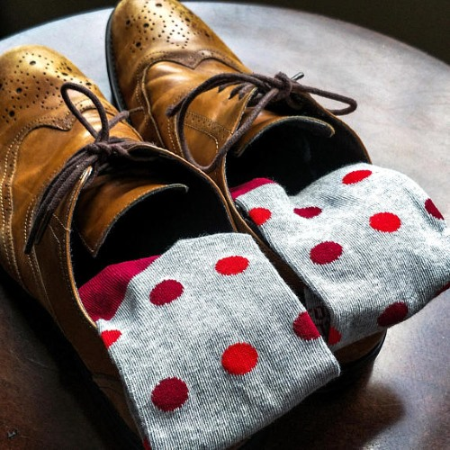 grey and red polka dot socks