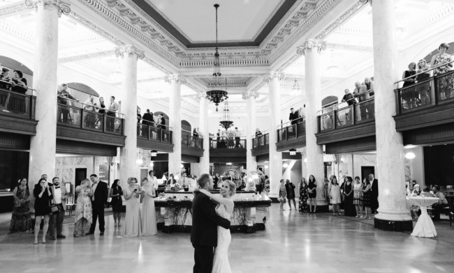 interior with newlywed first dance