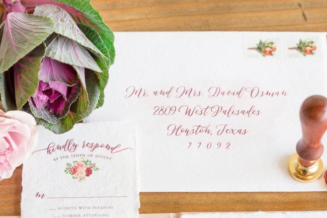 invite with wax seal stamper