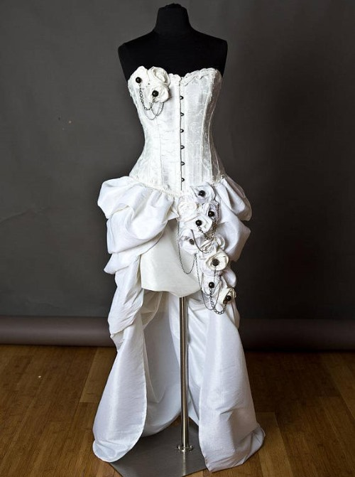 ivory burlesque steampunk wedding dress