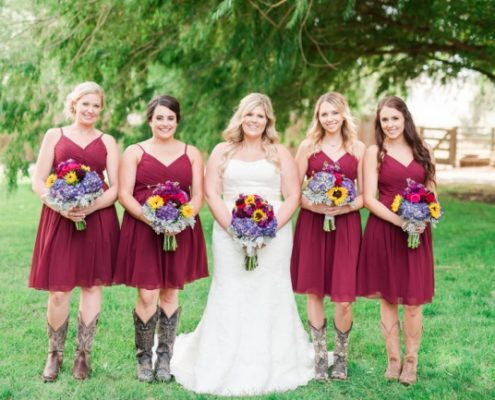 knee length bridesmaid dresses and cowgirl boots