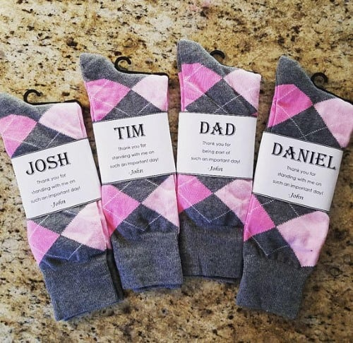 magenta and gray groomsmen socks