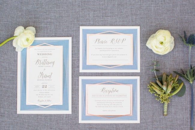 minted geometric stationery suite