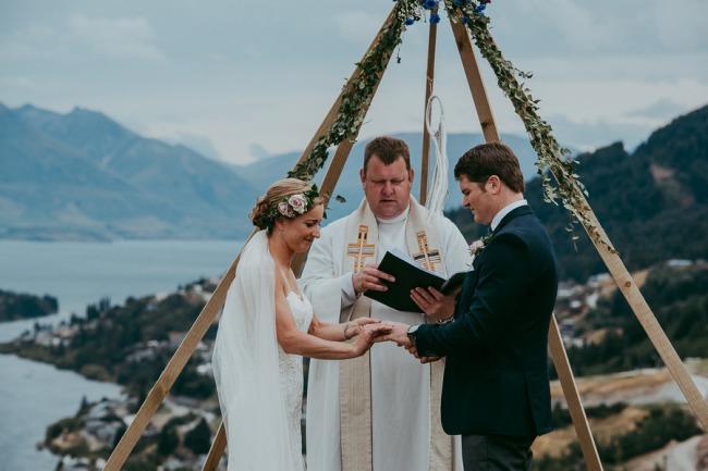 newlyweds at wedding ceremony