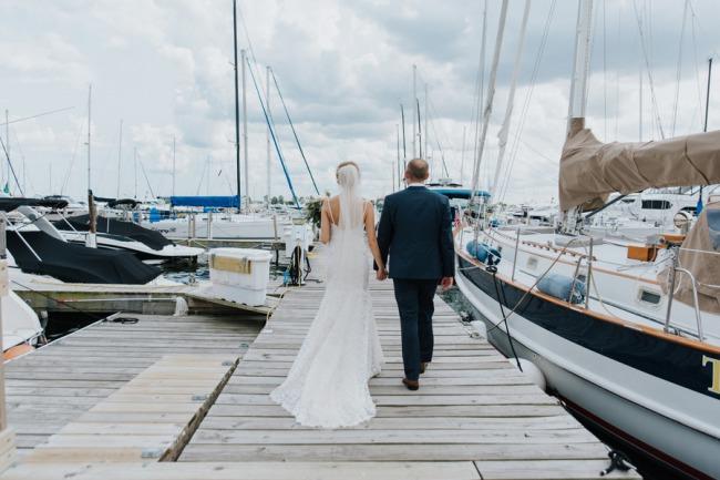 newlyweds on deck at Milwaukee yacht club