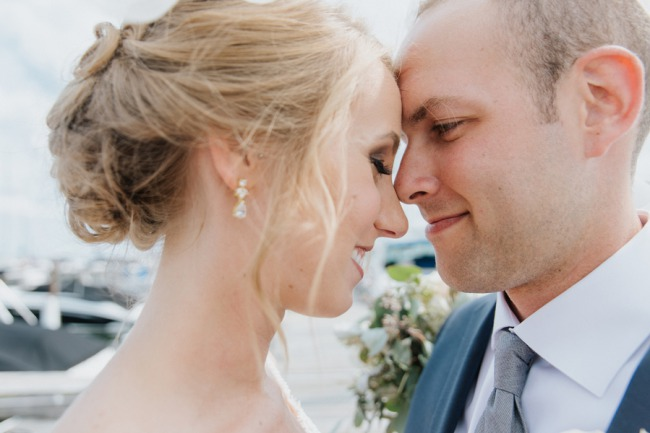 newlyweds under the veil