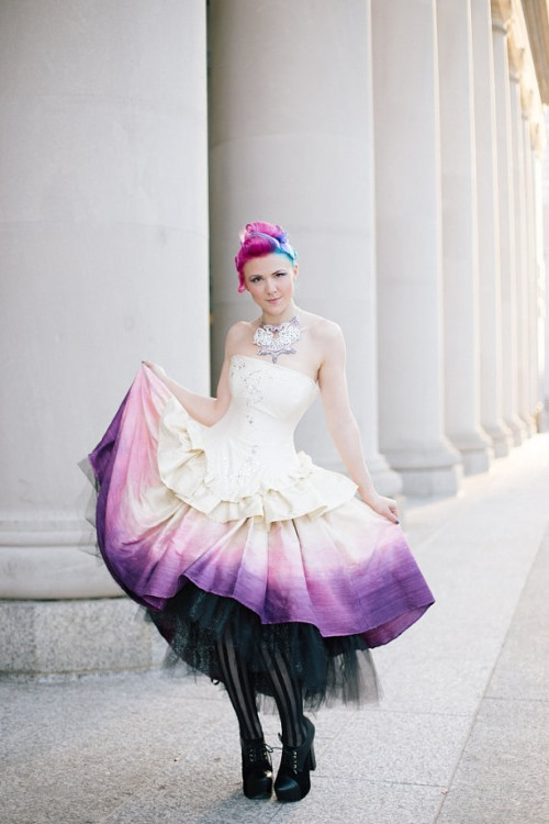 ombre design steampunk wedding dress