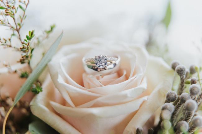 ring shot on pale peach rose