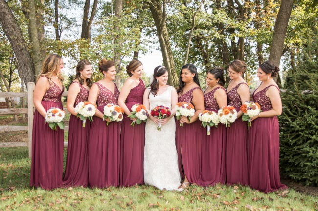 rouge bridesmaid dresses
