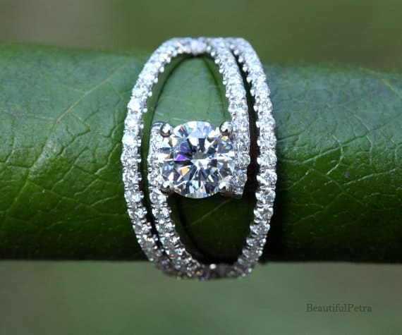 round diamond engagement ring with unique swirl