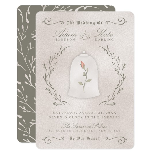 rustic rose of beauty invitation