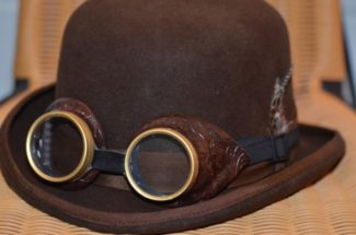 steampunk brown hat with goggles