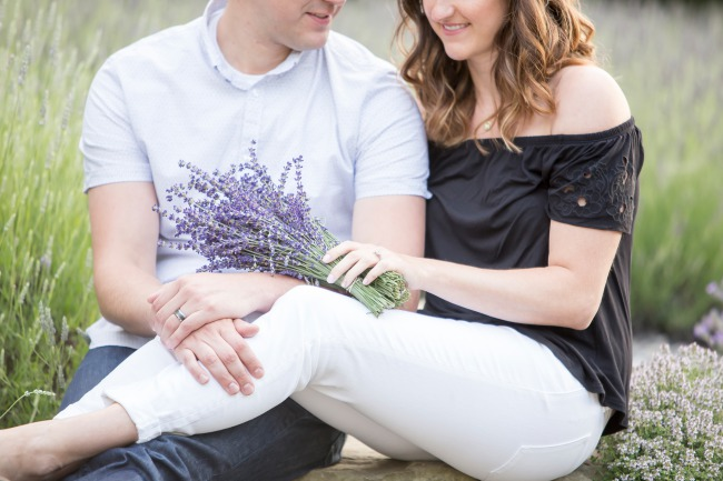 styled 3rd anniversary couple with lavender bunch