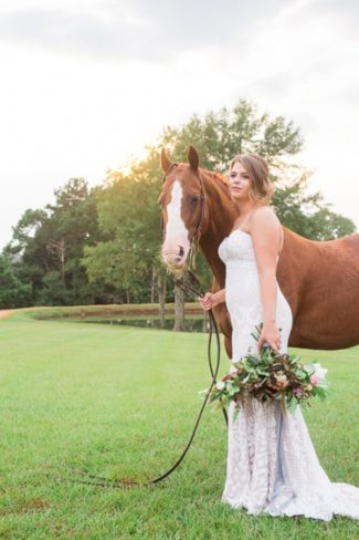 styled bride with horse