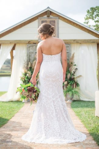 styled bride's back