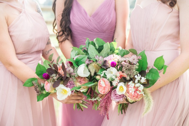 styled bridesmaids in pink shades