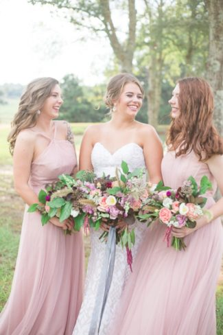 styled models with bouquets