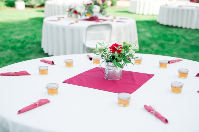 table setting with honey jars