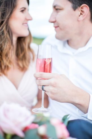 toasting with pink champagne