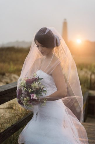 veiled bride at sunset in Virginia
