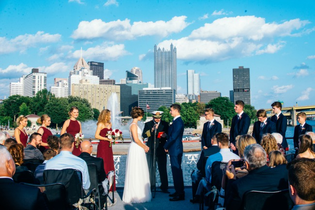 wedding ceremony aboard Gateway Clipper