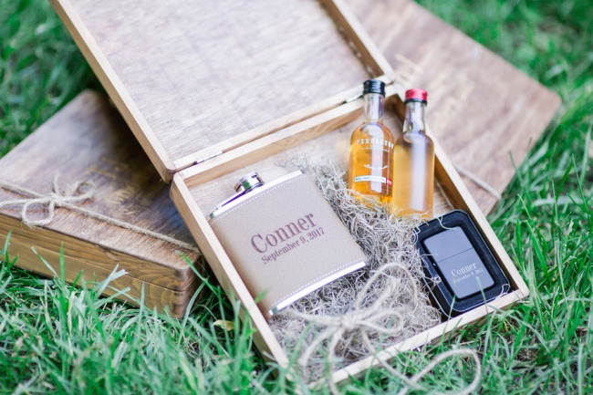 whiskey and flask gift box